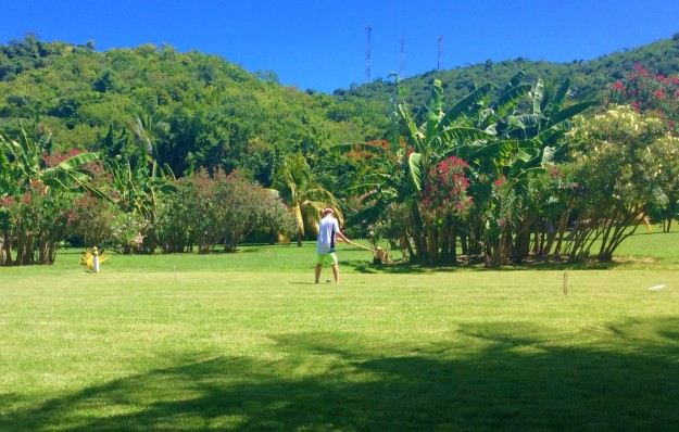Ryan playing croquet, Mount Cinnamon Resort, St. Georges, Grenada