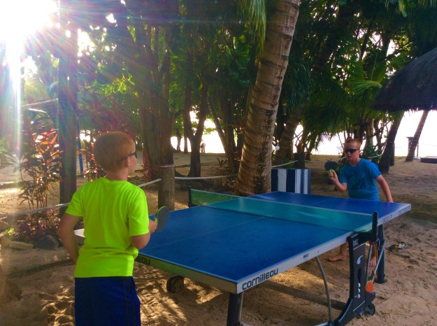 Ping pong in the shade on the beach, Mount Cinnamon Resort, St. Georges, Grenada