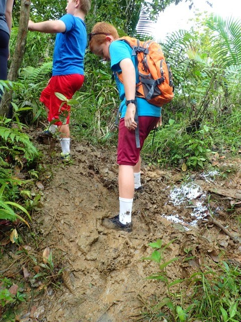 Ronan and Ryan hiking in Grenada ... just a little muddy