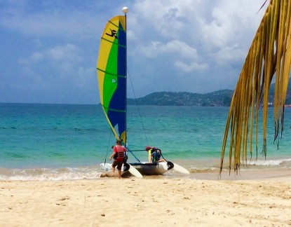 R&R taking the Hobie Cat out for a sail on Grand Anse, Grenada