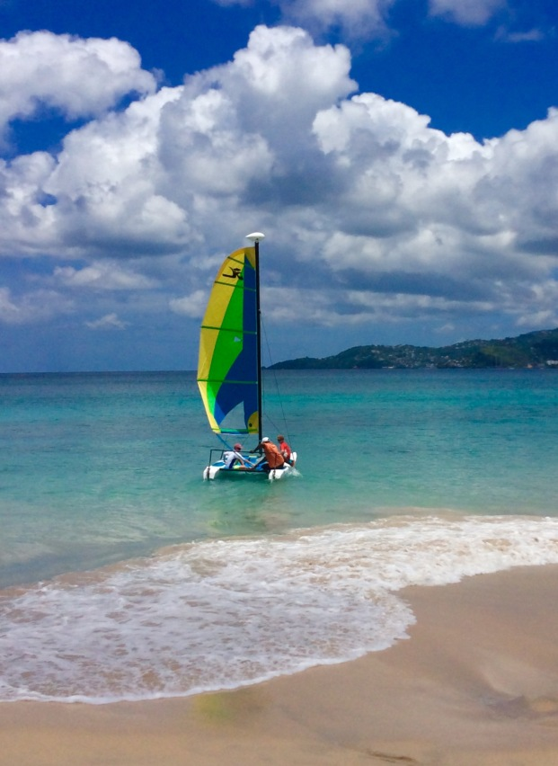 Sailing the Hobie Cat, Grand Anse Beach, Grenada