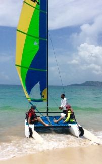 R&R heading out on the Hobie Cat, Grand Anse Beach, Grenada