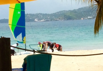 Ryan, Randy, and Ronan getting ready to go out on the Hobie Cat, Mount Cinnamon Resort, St. George's, Grenada