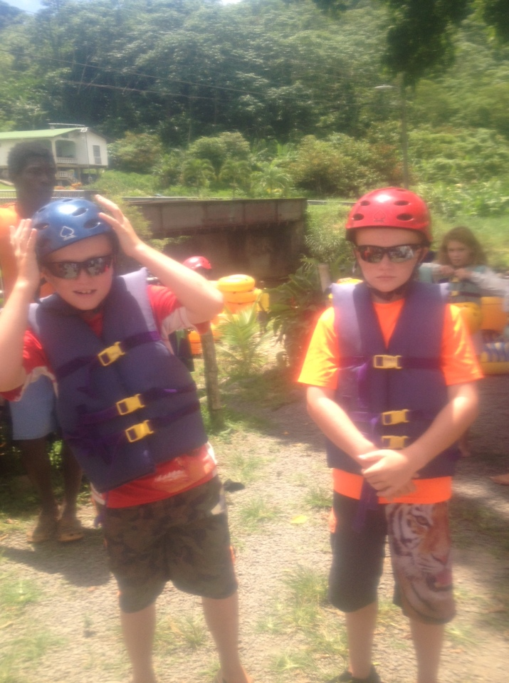 Ronan and Ryan getting ready to go tubing, Grenada