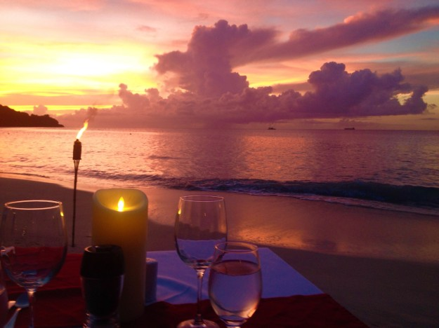 Anniversary dinner at Savvy, private beachside-waterfront-sunset, dinner for two, Mount Cinnamon Resort, St. George's, Grenada