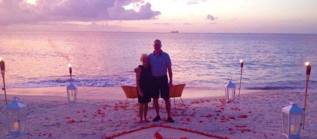 Private beachside, waterfront, sunset, anniversary dinner for two, Mount Cinnamon Resort, St. George's, Grenada