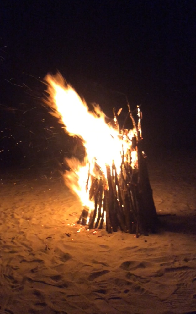 Friday night, blazing beachside bonfire, Mount Cinnamon Resort, Grand Anse Beach, St. George's, Grenada