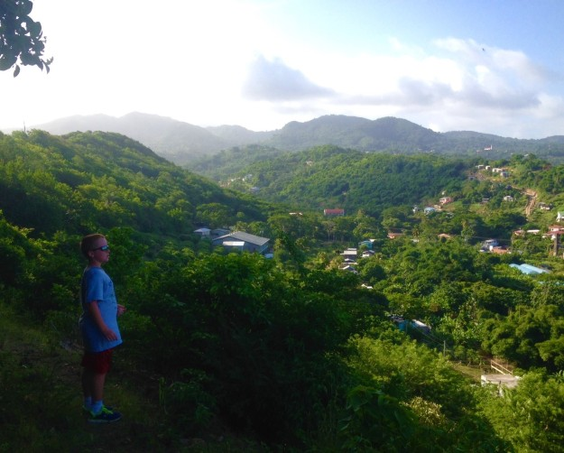 Ronan taking in the view on the hash in Grenada