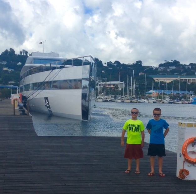 Ronan & Ryan in front of Venus, Port Louis Marina, Grenada