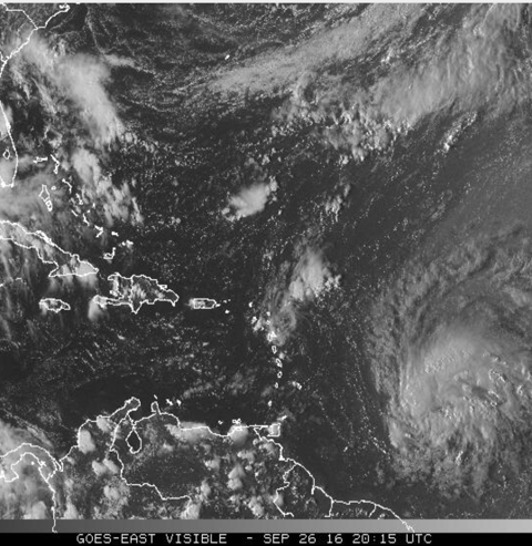 Tropical Storm Matthew approaching the eastern Caribbean