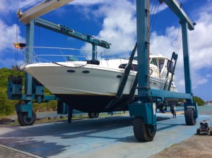 Pilots Discretion being hauled at Spice Isle Marine, Grenada