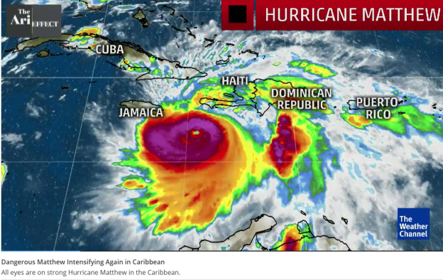 Hurricane Matthew heading towards Haiti