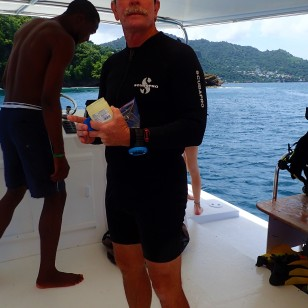 Capt. Ed between dives, Grenada