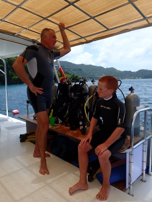 Randy and Ryan between dives, Grenada
