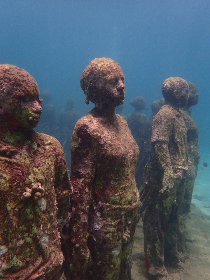 (Ryan) Typing at the desk, underwater sculpture park, Molinere Bay, Grenada
