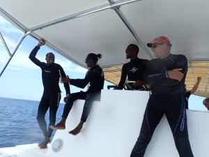 Eco Dive crew taking us back ashore after two great dives, Grenada