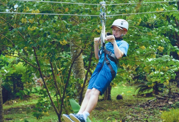 Ryan on the zip line, Rain Forest Adventures, St. Lucia