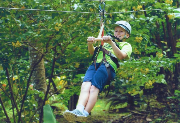 Ronan on the zip line, Rain Forest Adventures, St. Lucia