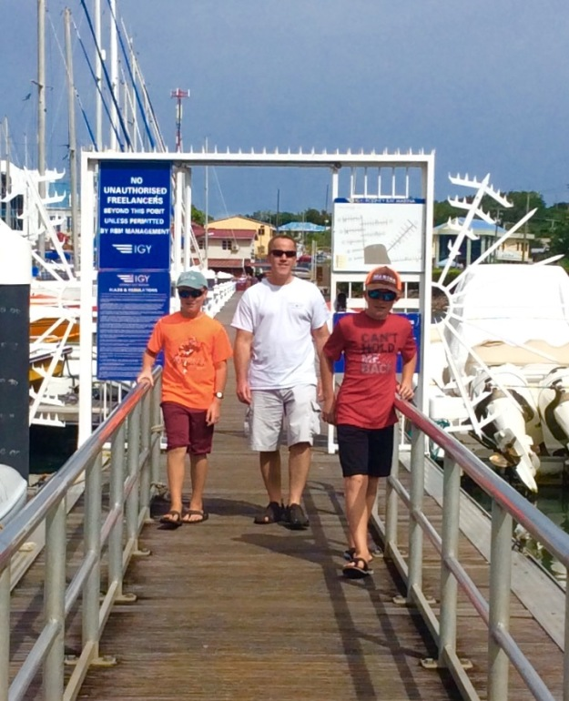 Ronan, James and Ryan departing Rodney Bay Marina, St. Lucia