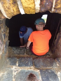 James and Ronan climbing down into Fort Rodney, St. Lucia