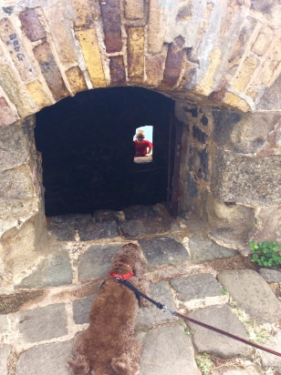 Patton watching Ryan scaling the fort from the outside, Fort Rodney, St. Lucia