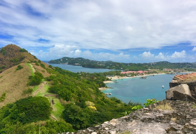 Pigeon Island land bridge (red roof tops are Sandals Resort), St. Lucia