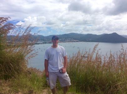 James, Fort Rodney, Pigeon Island, St. Lucia (Background: Rodney Bay/Reduit Beach)