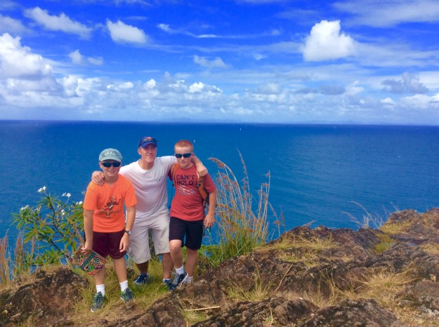 Ronan, James and Ryan (Martinique on the horizon), Fort Rodney, St. Lucia