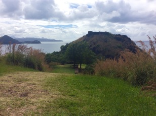 Flag station summit, looking west towards Fort Rodney, Pigeon Island, St. Lucia