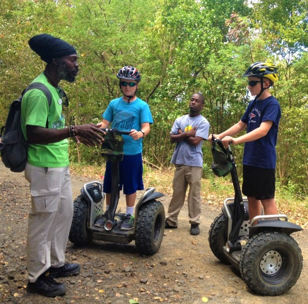 Roland, Ronan and Ryan, Segway in St. Lucia