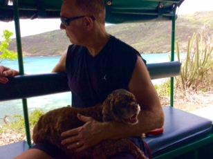 Randy and Patton on the open air bus tour, Bequia