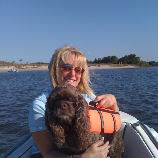 Theresa & Patton in the dinghy