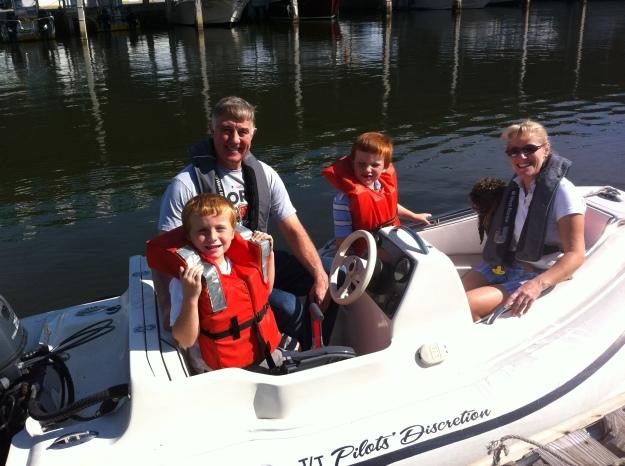 Family ride in the dinghy, Tarpon Springs, FL