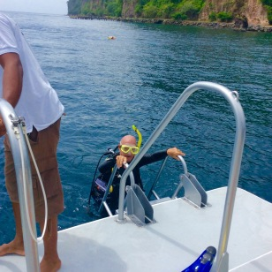 John (M/V Seamantha) boarding the dive boat in St. Lucia