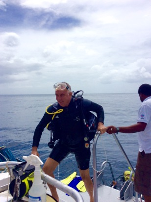 Randy, coming aboard from Turtle Cay dive in St. Lucia