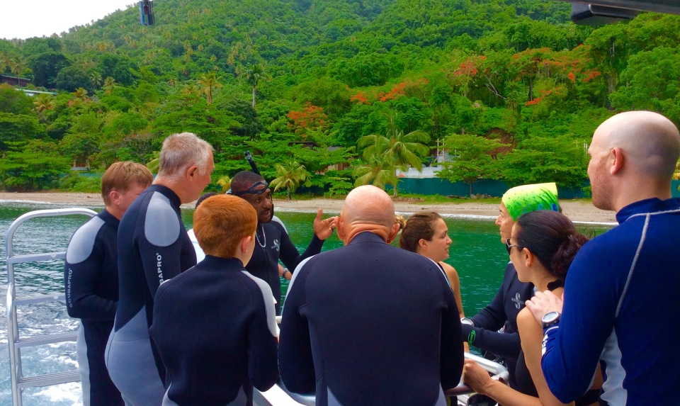 Randy, Ryan, John, Paulette, et. al, getting ready to dive the Pitons in St. Lucia