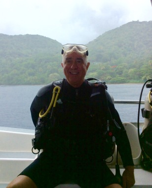 Randy getting ready to do the superman dive at the Pitons in St. Lucia