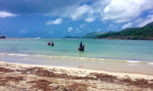 Horseback riding in the sea on the northeast coast of St. Lucia hike
