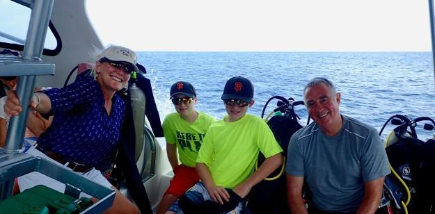 Theresa, Ronan, Ryan & Randy, dive boat, St. Lucia