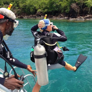 Theresa stepping in, dive St. Lucia (2017)
