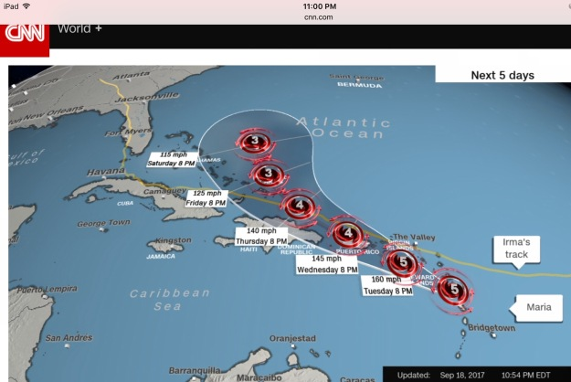 Projected track for Hurricane Maria, September 18, 2017
