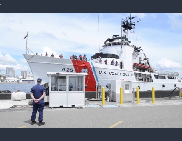 USCG Venturous taking on fuel prior to getting under way for hurricane relief effort