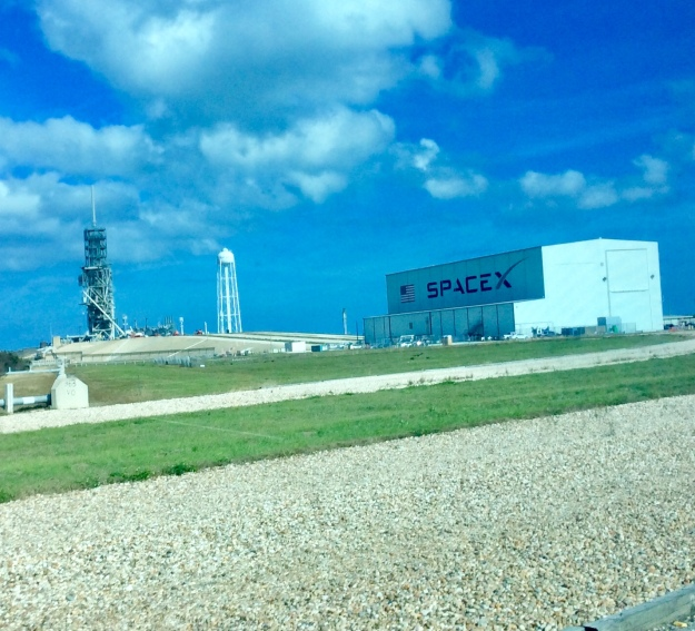 """""""Crawler Space Shuttle Route"""" passsing in front of Elan Musk's Space X's launch pad"""