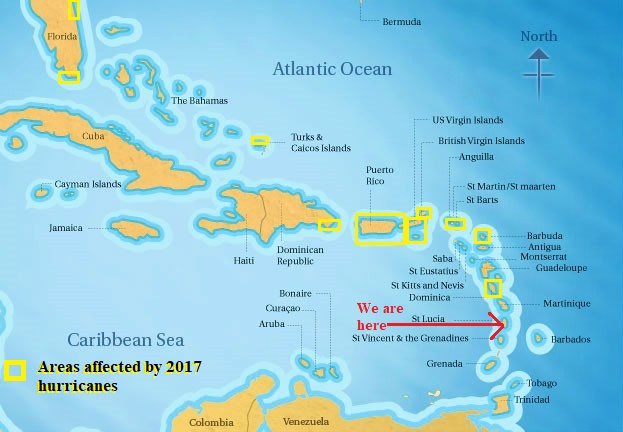 2017 Hurricane Affected Areas in the Caribbean