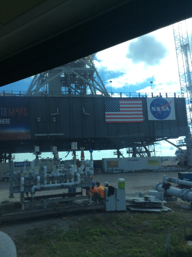 """""""The Crawler"""" (only captured part of it, but this massive piece of machinery transported the shuttle)"""