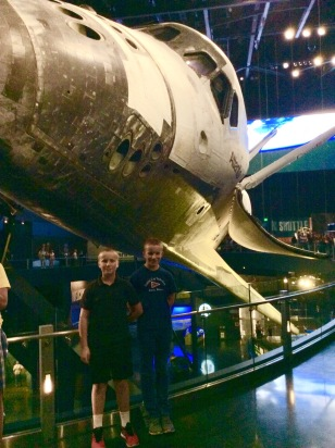 Ronan & Ryan in front of the Space Shuttle, Kennedy Space Center, Cape Canaveral, FL 12-17