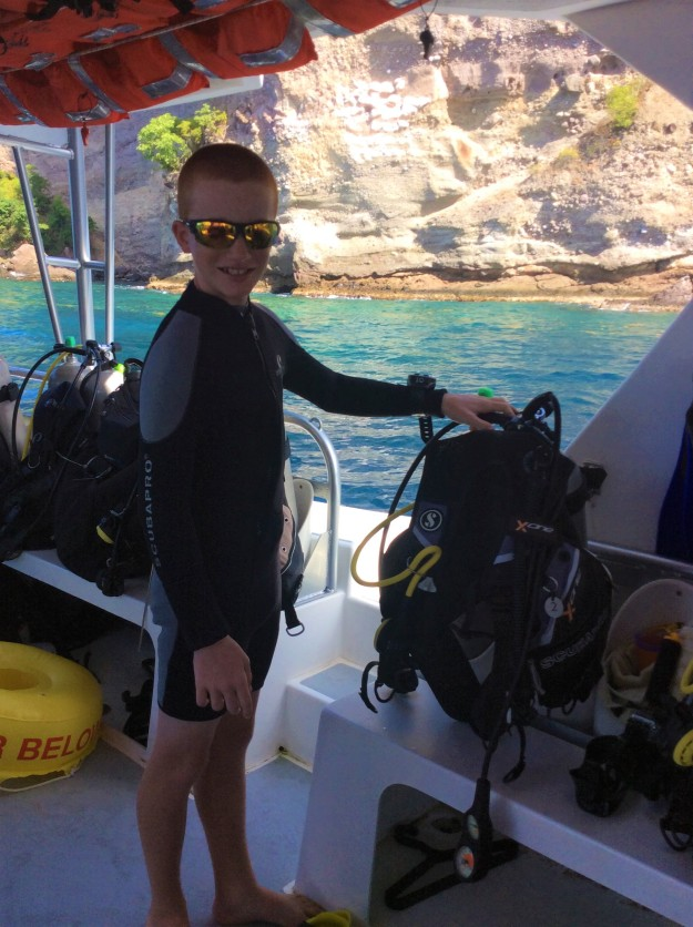 Ryan getting ready to dive in St. Lucia (Jan. 2018)