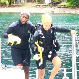 Mary & Paulette diving in St. Lucia