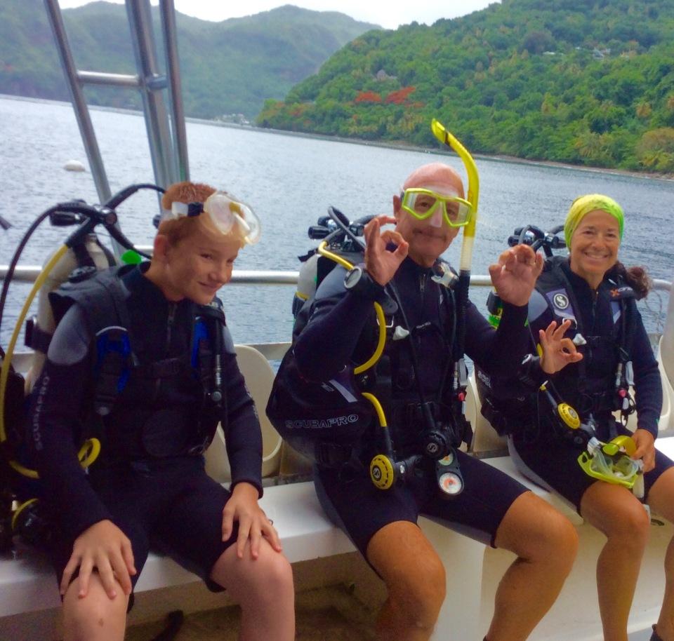 Ryan, John & Paulette, diving in St. Lucia