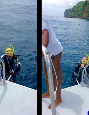 Paulette & John diving in St. Lucia